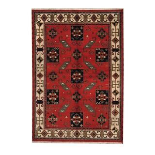 Herat Oriental Indo Hand-knotted Tribal Kazak Orange/ Navy Wool Rug (6'1 x 8'10)
