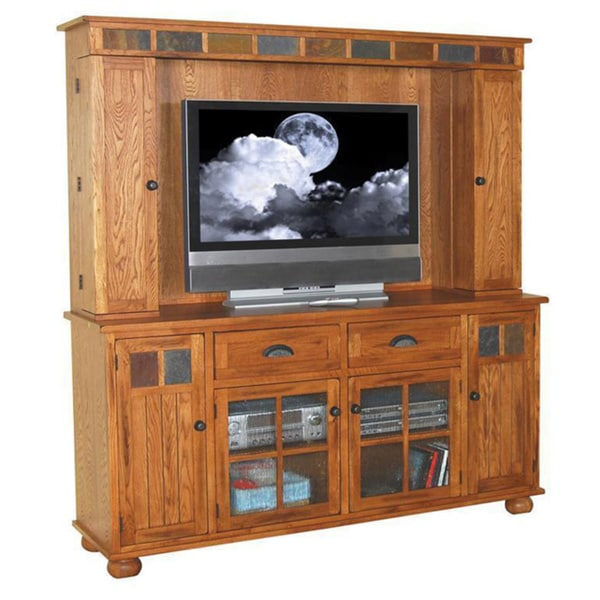 sunny designs sedona rustic oak media hutch and tv console combo 17236288. Black Bedroom Furniture Sets. Home Design Ideas