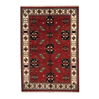 Herat Oriental Indo Hand-knotted Tribal Kazak Orange/ Navy Wool Rug (6' x 8'11)