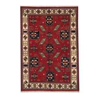Herat Oriental Indo Hand-knotted Tribal Kazak Rust/ Navy Wool Rug (6' x 8'9)