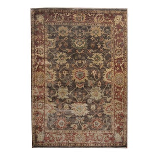 Herat Oriental Indo Hand-knotted Oushak Brown/ Rust Wool Rug (6'4 x 9'1)