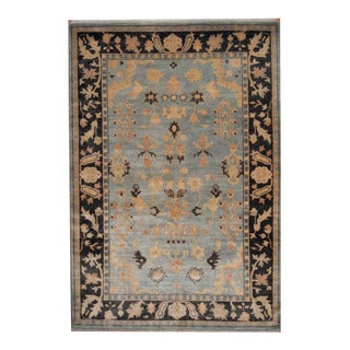 Herat Oriental Indo Hand-knotted Oushak Blue/ Brown Wool Rug (6'3 x 9'1)