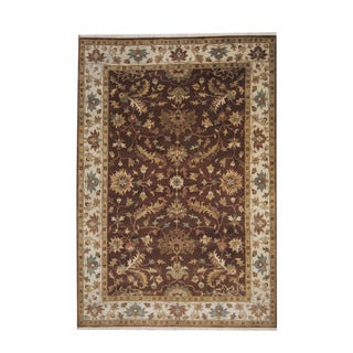 Herat Oriental Indo Hand-knotted Mahal Brown/ Beige Wool Rug (5'6 x 7'11)
