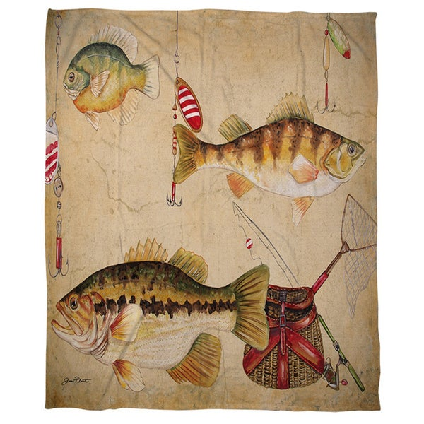 Thumbprintz Fish and Lures Coral Fleece Throw