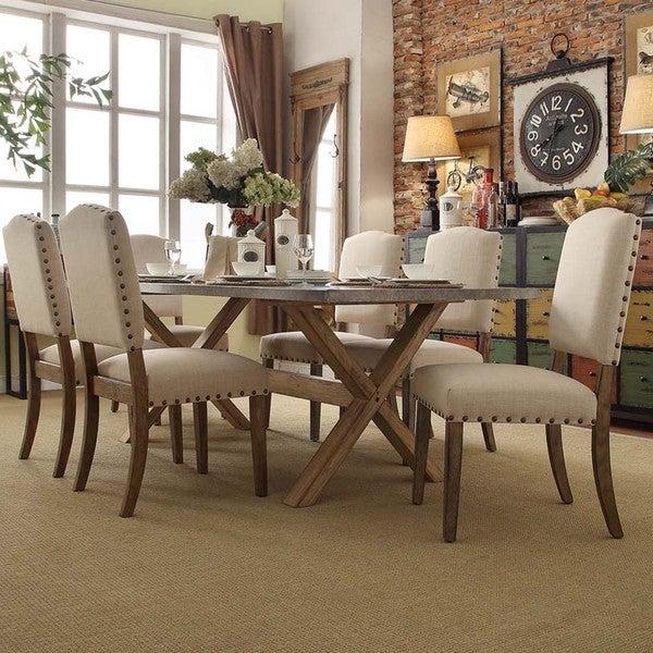 INSPIRE Q Aberdeen Industrial Zinc Top Weathered Oak Trestle Nailhead 7-Piece Dining Set