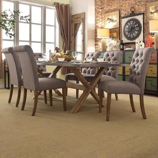 INSPIRE Q Aberdeen Industrial Zinc Top Weathered Oak Trestle Rolled Back 7-Piece Dining Set