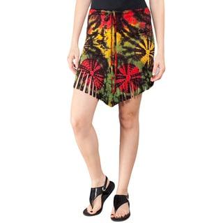 Rasta Tie-Dye Waterfall Fringe Skirt (Nepal)
