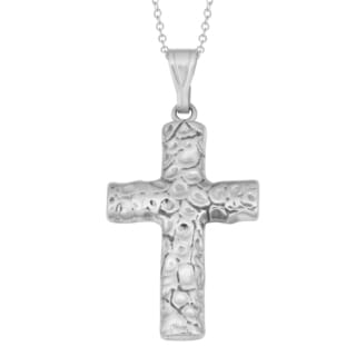 Fremada Rhodium-plated Sterling Silver Oxidized Cross Necklace
