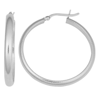 Fremada Rhodium-plated Sterling Silver 4x30-mm Textured Round Hoop Earrings