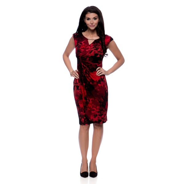Connected Apparel Women's Rose Keyhole Faux Wrap Dress