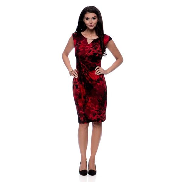 Connected Apparel Women's Rose Keyhole Faux Wrap Dress