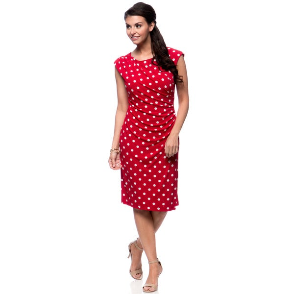 Connected Apparel Women's Red Polka-dot Sling Dress