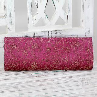 Handcrafted Embroidered 'Golden Garden' Clutch Handbag (India)