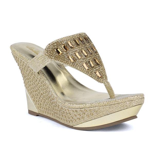 Celeste Women's kera-03 Embellished Rhinestone Wedge Sandals
