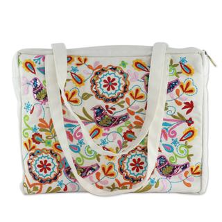 Handcrafted Embroidered Cotton 'Happy Paradise' Shoulder Bag (India)