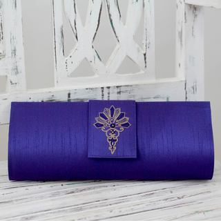Handcrafted Embellished 'Blue Exuberance' Clutch Bag (India)