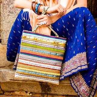 Handcrafted Cotton 'Lace Horizons' Shoulder Bag (India)