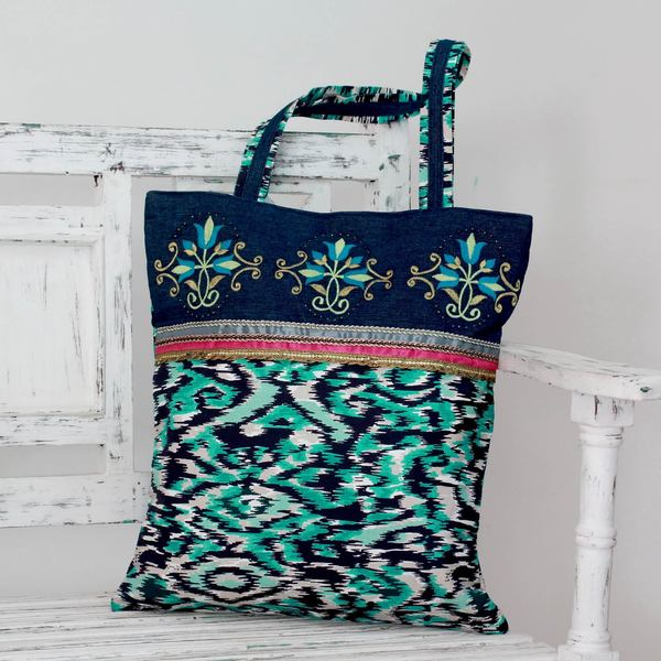 Embroidered Cotton 'Floral Reflection' Tote Handbag (India)