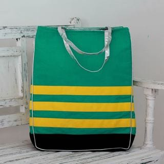 Cotton Canvas 'Emerald Green Rhythm' Tote Bag (India)