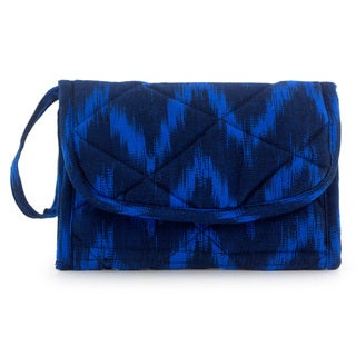 Handcrafted Cotton 'Midnight Blue Zigzag' Wristlet Bag (Guatemala)