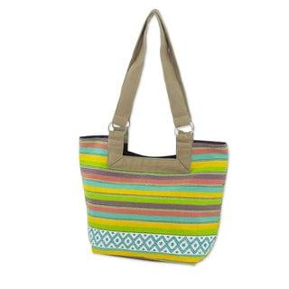 Handcrafted Cotton 'Colorful Cocoa' Tote Handbag (Guatemala)