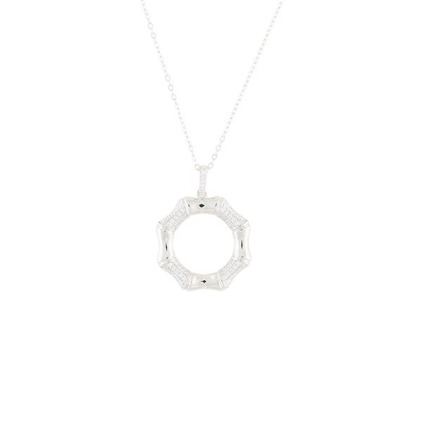 Sterling Silver White Cubic Zirconia Bamboo Open Circle Necklace