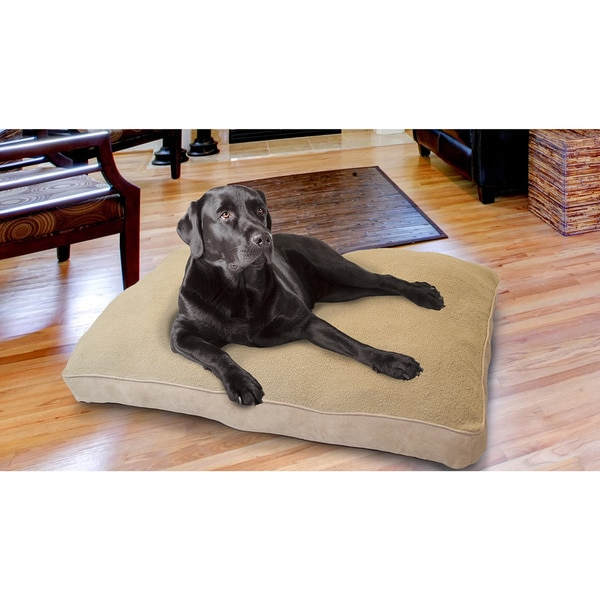 Furhaven Snuggle Terry and Suede Deluxe Pillow Pet Bed