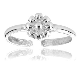 Luxurman 14k White Gold Adjustable Flower Toe Ring
