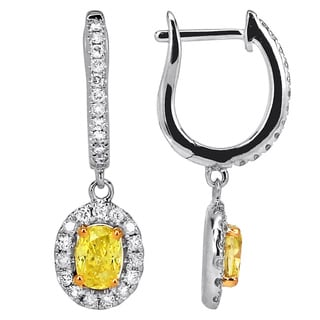 18k White Gold 1 2/5ct TDW Yellow and White Diamond Dangle Earrings (H-I, SI1-SI2)