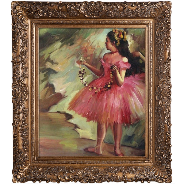 Edgar Degas Dancer in Pink Dress Hand Painted Framed Canvas Art 15292027