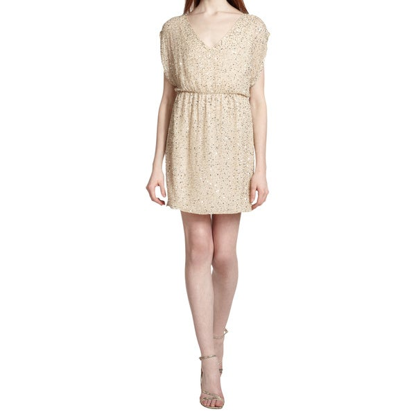 Alice + Olivia Beige Nelson Silk Beaded Sequined Cocktail Mini Dress