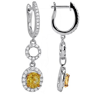 18k White Gold 1 1/8ct TDW Yellow and White Diamond Dangle Earrings (H-I, SI1-SI2)
