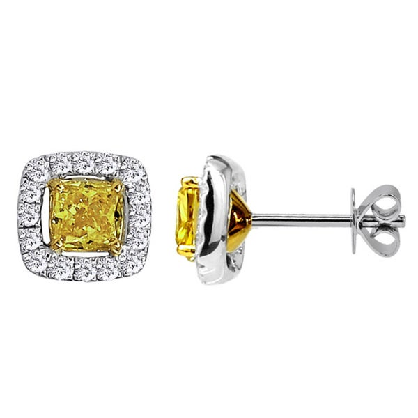18k White Gold 7/8ct TDW Fancy Yellow Color Treated Diamond Stud Earrings (H-I/SI)
