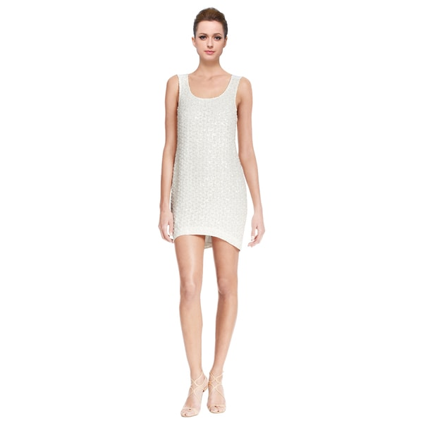 Sachin + Babi White Sleeveless V-back Sequin Shift Cocktail Dress