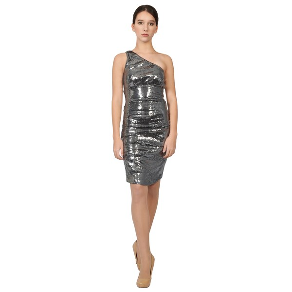 Nicole Miller Pewter Stretch Jersey Sequined One Shoulder Cocktail Dress