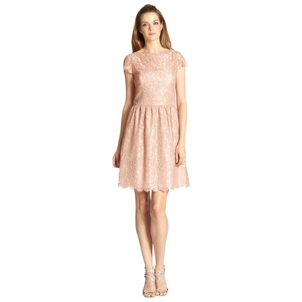 Aidan Mattox Pink Metallic Lace Boatneck Scalloped Cocktail Dress