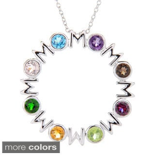 "Sterling Silver Round Gemstone ""Mom"" Pendant w/ 18"" Cable Chain"