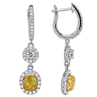 18k Gold 1 4/5ct TDW Yellow and White Diamond Dangle Earrings (H-I, SI1-SI2)