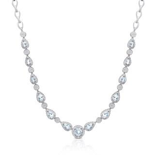 Dolce Giavonna Sterling Silver Blue Topaz Necklace