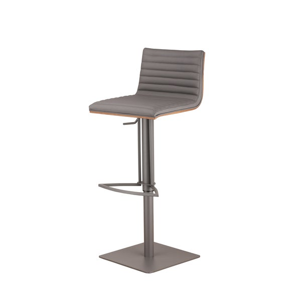Counter stools set of 2 grey leather safavieh com - Armen Living Cafe Adjustable Grey Metal Barstool With