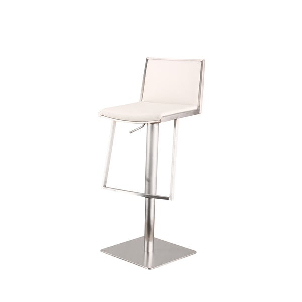 Armen Living Ibiza Adjustable Brushed Stainless Steel White Barstool
