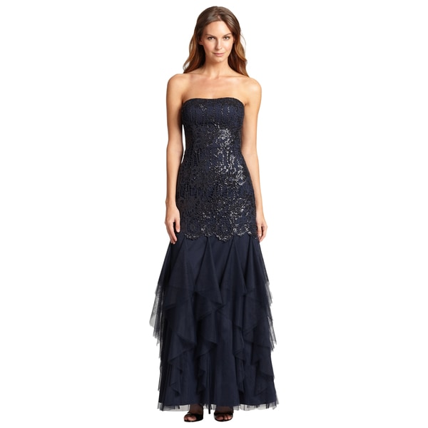 Aidan Mattox Beaded Bodice Ruffled Evening Dress