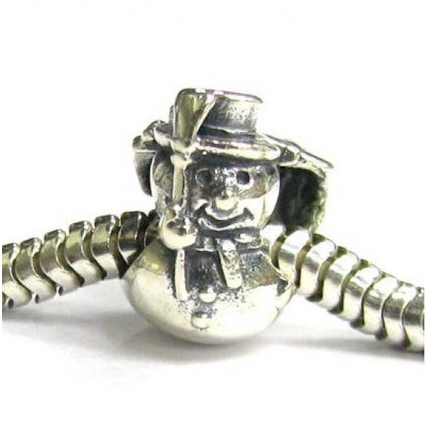 Queenberry Sterling Silver Snowman with Hat Carrying Gift And Present Christmas European Bead Charm