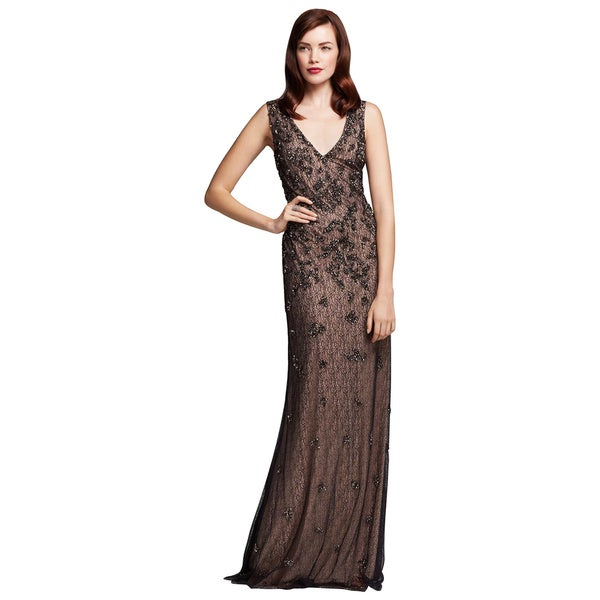 Aidan Mattox Black Nude Beaded Lace V-neck Evening Dress