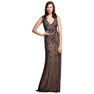 Aidan Mattox Black Nude Beaded Lace V-neck Evening Dress
