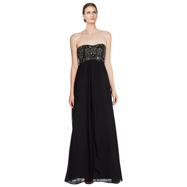 Aidan Mattox Black Embellished Strapless Empire Evening Dress