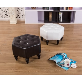 Warehouse of Tiffany Shantel 21-inch White Leather Ottoman