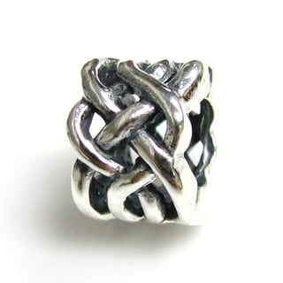Queenberry Sterling Silver Celtic Ribbon Love Knot Weaved Flower European Bead Charm