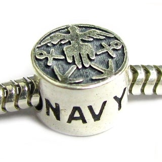 Queenberry Sterling Silver America US Navy Patriotic Naval Force Hero European Bead Charm
