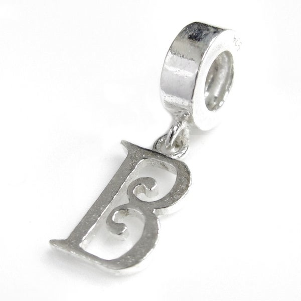 Queenberry Sterling Silver Initial Letter 'B' Dangle European Bead Charm